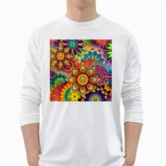 Colorful Abstract Background Colorful White Long Sleeve T Shirts