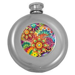 Colorful Abstract Background Colorful Round Hip Flask (5 Oz)