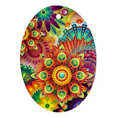 Colorful Abstract Background Colorful Oval Ornament (two Sides)