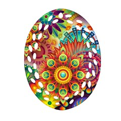 Colorful Abstract Background Colorful Ornament (oval Filigree)