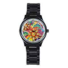 Colorful Abstract Background Colorful Stainless Steel Round Watch