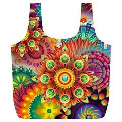 Colorful Abstract Background Colorful Full Print Recycle Bags (l)