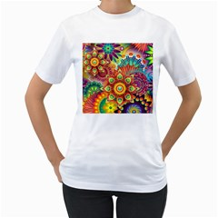 Colorful Abstract Background Colorful Women s T Shirt (white)