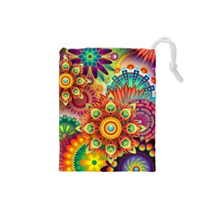 Colorful Abstract Background Colorful Drawstring Pouches (small)