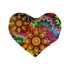 Colorful Abstract Background Colorful Standard 16  Premium Flano Heart Shape Cushions