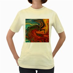Creativity Abstract Art Women s Yellow T Shirt