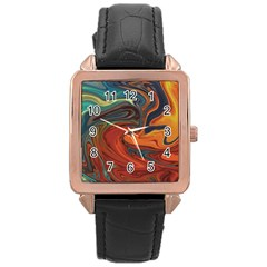 Creativity Abstract Art Rose Gold Leather Watch