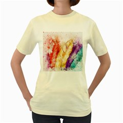 Feathers Bird Animal Art Abstract Women s Yellow T Shirt