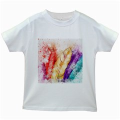 Feathers Bird Animal Art Abstract Kids White T Shirts