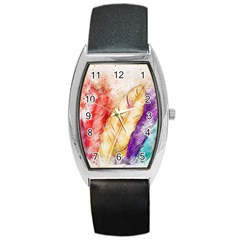 Feathers Bird Animal Art Abstract Barrel Style Metal Watch