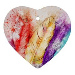 Feathers Bird Animal Art Abstract Heart Ornament (two Sides)