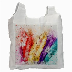 Feathers Bird Animal Art Abstract Recycle Bag (two Side)