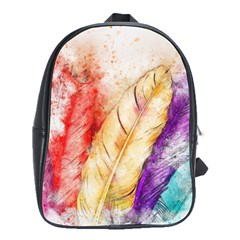 Feathers Bird Animal Art Abstract School Bag (large)