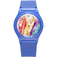 Feathers Bird Animal Art Abstract Round Plastic Sport Watch (s)