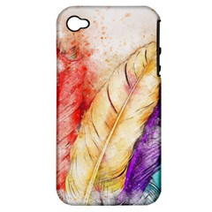 Feathers Bird Animal Art Abstract Apple Iphone 4/4s Hardshell Case (pc+silicone)