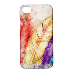 Feathers Bird Animal Art Abstract Apple Iphone 4/4s Hardshell Case With Stand