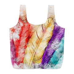Feathers Bird Animal Art Abstract Full Print Recycle Bags (l)