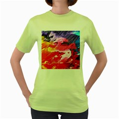 Abstract Art Background Paint Women s Green T Shirt