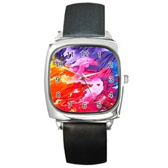 Abstract Art Background Paint Square Metal Watch by Nexatart