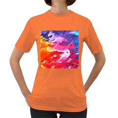 Abstract Art Background Paint Women s Dark T Shirt