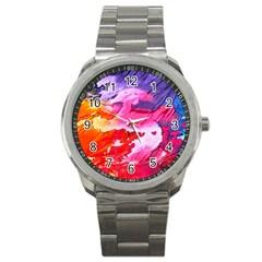 Abstract Art Background Paint Sport Metal Watch