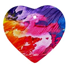 Abstract Art Background Paint Heart Ornament (two Sides)