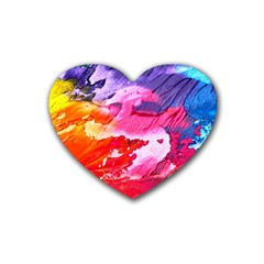 Abstract Art Background Paint Rubber Coaster (heart)