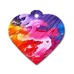 Abstract Art Background Paint Dog Tag Heart (one Side)