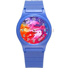 Abstract Art Background Paint Round Plastic Sport Watch (s)