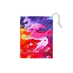 Abstract Art Background Paint Drawstring Pouches (small)