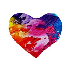 Abstract Art Background Paint Standard 16  Premium Flano Heart Shape Cushions