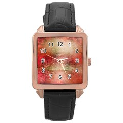 Background Art Abstract Watercolor Rose Gold Leather Watch