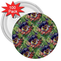 Background Square Flower Vintage 3  Buttons (100 Pack)  by Nexatart