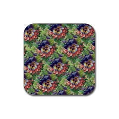 Background Square Flower Vintage Rubber Square Coaster (4 Pack)  by Nexatart