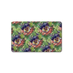 Background Square Flower Vintage Magnet (name Card)