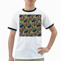 Background Square Flower Vintage Ringer T Shirts
