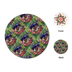 Background Square Flower Vintage Playing Cards (round)