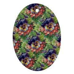 Background Square Flower Vintage Oval Ornament (two Sides)