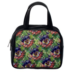 Background Square Flower Vintage Classic Handbags (one Side)