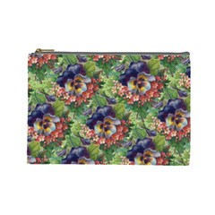 Background Square Flower Vintage Cosmetic Bag (large)