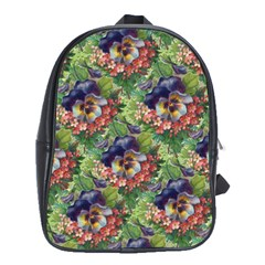 Background Square Flower Vintage School Bag (large)