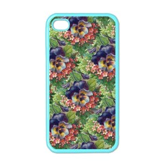 Background Square Flower Vintage Apple Iphone 4 Case (color)