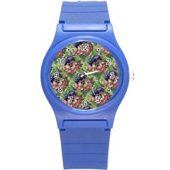 Background Square Flower Vintage Round Plastic Sport Watch (s)