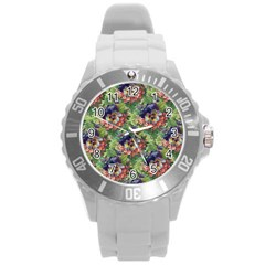 Background Square Flower Vintage Round Plastic Sport Watch (l) by Nexatart