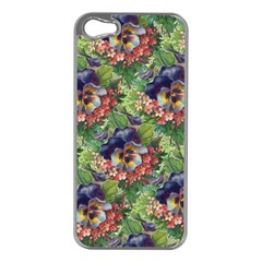 Background Square Flower Vintage Apple Iphone 5 Case (silver)