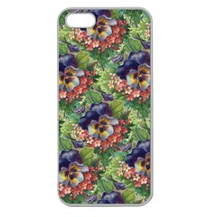 Background Square Flower Vintage Apple Seamless Iphone 5 Case (clear)