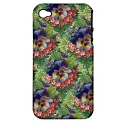 Background Square Flower Vintage Apple Iphone 4/4s Hardshell Case (pc+silicone)