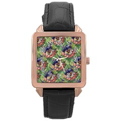 Background Square Flower Vintage Rose Gold Leather Watch
