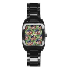 Background Square Flower Vintage Stainless Steel Barrel Watch