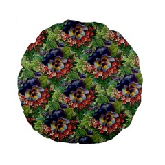 Background Square Flower Vintage Standard 15  Premium Flano Round Cushions by Nexatart